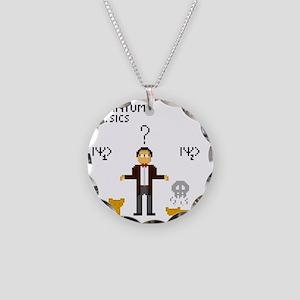 Pixel Schrodinger Necklace Circle Charm