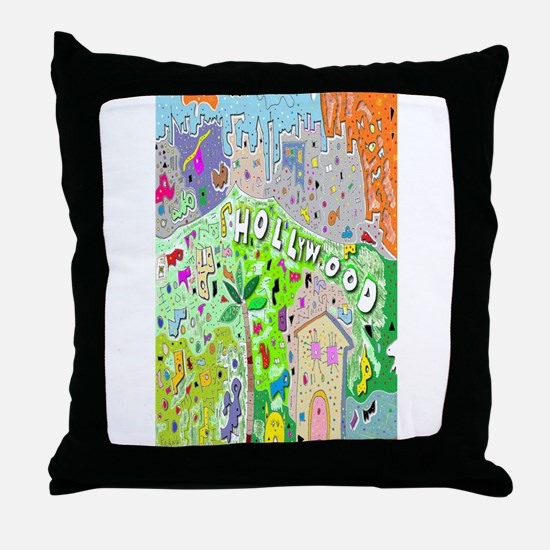 City of Hollywood Hills Throw Pillow