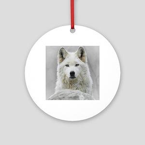 White Wolf Round Ornament