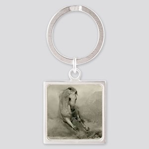Grey Horse Charging Square Keychain