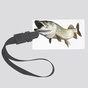 Toothy musky Large Luggage Tag