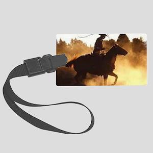 Roping Cowboy Large Luggage Tag