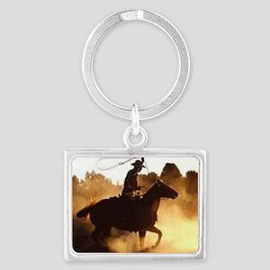 Roping Cowboy Landscape Keychain
