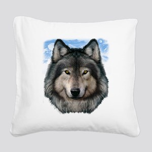 Wolf Head 2 Square Canvas Pillow