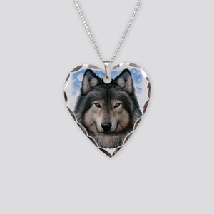 Wolf Head 2 Necklace Heart Charm