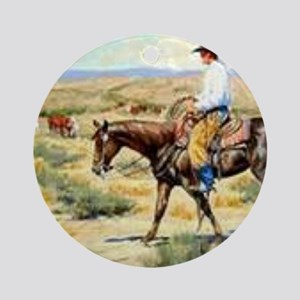Cowboy Painting Round Ornament