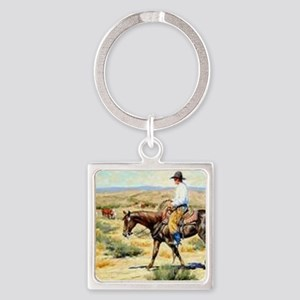 Cowboy Painting Square Keychain