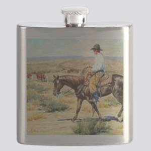 Cowboy Painting Flask