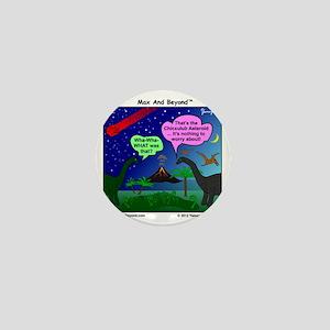Dinosaurs and Asteroid Cartoon Mini Button