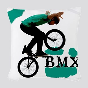 BMX ink blot Woven Throw Pillow