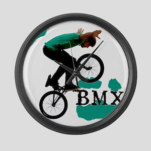 BMX ink blot Large Wall Clock