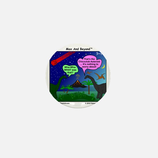 Dinosaurs and Asteroid Cartoon Mini Button