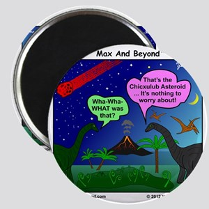 Dinosaurs and Asteroid Cartoon Magnet