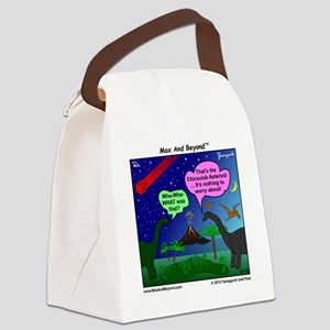 Dinosaurs and Asteroid Cartoon Canvas Lunch Bag