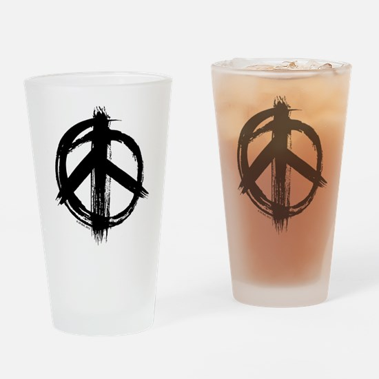 Peace sign - black Drinking Glass