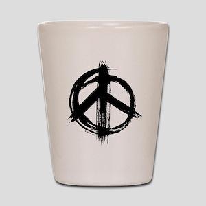 Peace sign - black Shot Glass