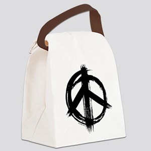 Peace sign - black Canvas Lunch Bag