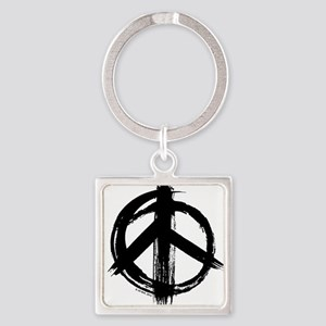 Peace sign - black Square Keychain