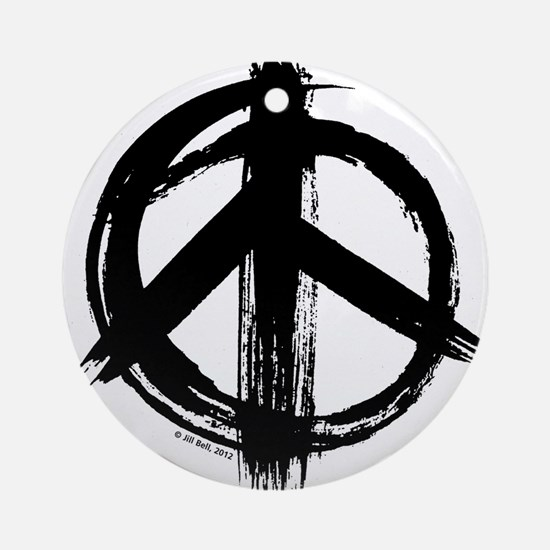 Peace sign - black Round Ornament