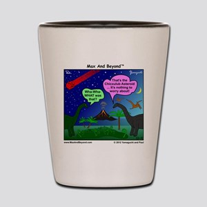Dinosaurs and Asteroid Cartoon Shot Glass