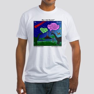 Dinosaurs and Asteroid Cartoon Fitted T-Shirt
