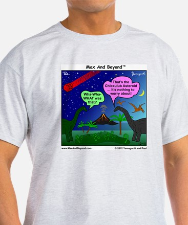 Dinosaurs and Asteroid Cartoon T-Shirt