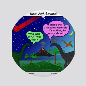 Dinosaurs and Asteroid Cartoon Round Ornament