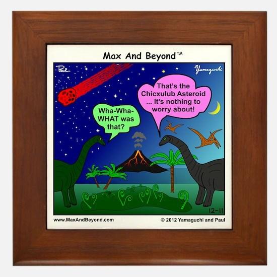 Dinosaurs and Asteroid Cartoon Framed Tile