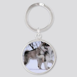 Wolves Playing Round Keychain