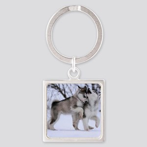 Wolves Playing Square Keychain