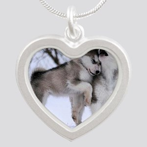 Wolves Playing Silver Heart Necklace