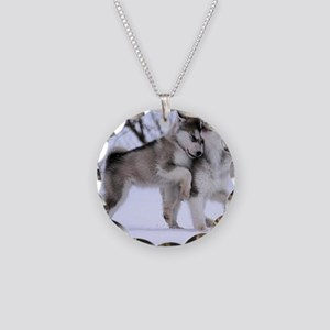 Wolves Playing Necklace Circle Charm