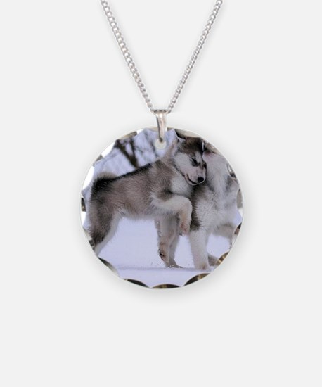 Wolves Playing Necklace
