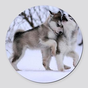 Wolves Playing Round Car Magnet