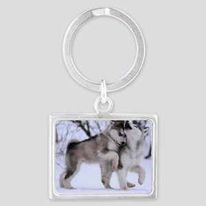 Wolves Playing Landscape Keychain
