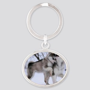 Wolves Playing Oval Keychain