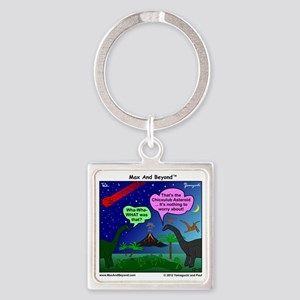 Dinosaurs and Asteroid Cartoon Square Keychain