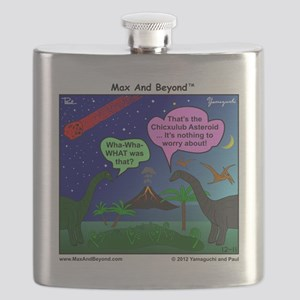 Dinosaurs and Asteroid Cartoon Flask