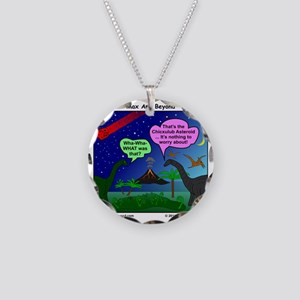 Dinosaurs and Asteroid Carto Necklace Circle Charm