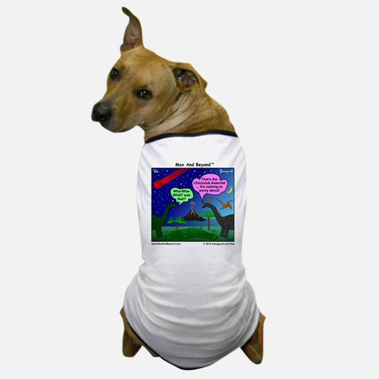 Dinosaurs and Asteroid Cartoon Dog T-Shirt