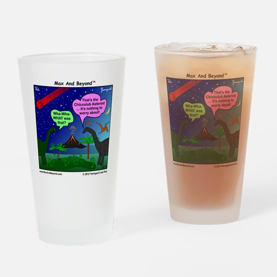 Dinosaurs and Asteroid Cartoon Drinking Glass