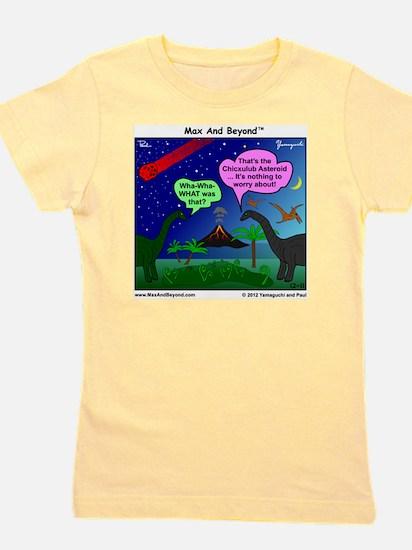 Dinosaurs and Asteroid Cartoon Girl's Tee