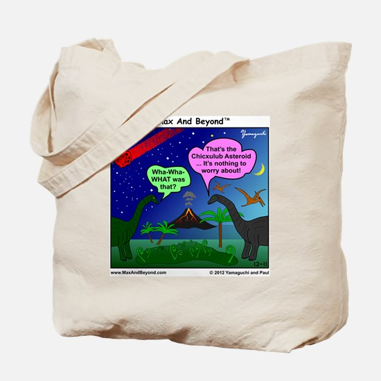 Dinosaurs and Asteroid Cartoon Tote Bag