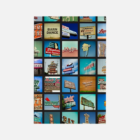Mid-Century Vintage Signs Poster Rectangle Magnet