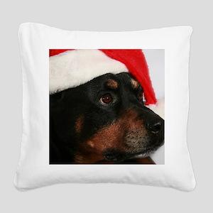 Rottweiler Santa Square Canvas Pillow