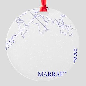 Marrakech geocode map (Blue) Round Ornament
