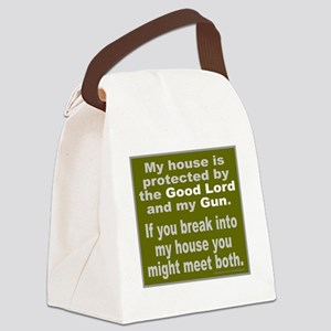 THE GOOD LORD AND MY GUN Canvas Lunch Bag