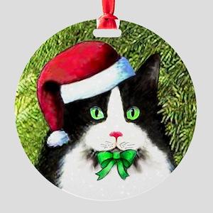 Black and White Tuxedo Cat Round Ornament