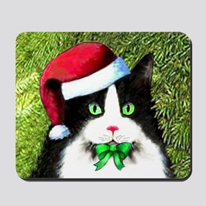 Black and White Tuxedo Cat Mousepad