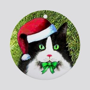 Black and White Tuxedo Cat Round Ornament